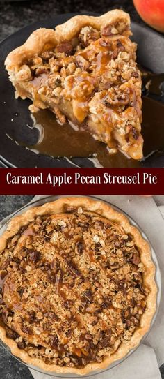 A caramel apple pecan streusel pie that tastes as good as it looks! via /introvertbaker/