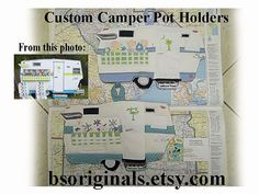 Custom Camper potholder made to match your camper, featured in Mary Jane Butters' newely released book Glamping with Mary Jane on Etsy, $24.00