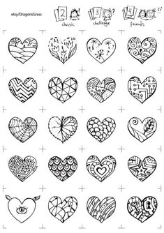 Color me hearts memory game valentine printableDIY lover Doodle Tattoo, Doodle Drawings, Easy Drawings, Doodle Art, Doodle Patterns, Zentangle Patterns, Zentangles, Heart Doodle, Tattoo Stencils