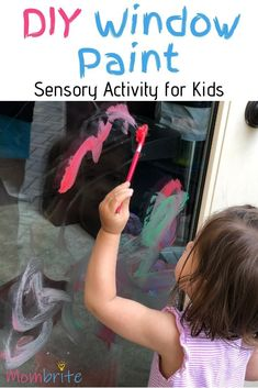 Window painting is so much fun for the kids. This DIY window paint has only 3 ingrediants and the washable paint makes it easy and FUN to clean up! Indoor Activities, Sensory Activities, Toddler Activities, Learning Activities, Drip Painting, Painting For Kids, Preschool Art, Toddler Preschool, Window Paint