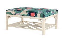Chippendale-inspired ottoman with fretwork shelf and upholstered top (watercolor print fabric from Italy)