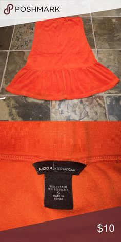 """Strapless Terrycloth Coverup Victoria's Secret Strapless Terrycloth Coverup. Drawstring at top of bust. Fitted bodice and flared ruffle bottom. Bright orange color is an eye catcher! Measures about 24"""" in length from top to bottom. Size S. Victoria's Secret Swim Coverups"""