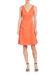 BOSS Degina Stretch-Cotton Dress - Orange - Size