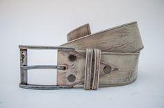 Light Grey Leather Belt handmade in Vintage Look By Ishaor