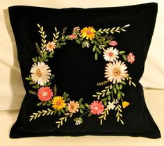 Items similar to Pillow Case with silky ribbon embroidered lei handmade by my mother on Etsy Ribbon Embroidery Tutorial, Border Embroidery Designs, Fabric Flower Tutorial, Hand Embroidery Flowers, Silk Ribbon Embroidery, Embroidery Patterns, Making Fabric Flowers, Fabric Roses, Cushion Embroidery