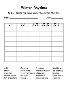 Read Music Winter-rhythms (syllables) this is great! Could be used for any word list! Piano Lessons, Music Lessons, Music Lesson Plans, Music Sub Plans, Music Education, Physical Education, Health Education, Music Classroom, Music Teachers