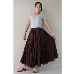 Custom Made Cotton Boho Hippie Long Elastic Waist  Ruffle Skirt (H)