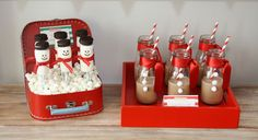 Super cute for a Christmas party or winter birthday. Snowman pops and chocolate milk.