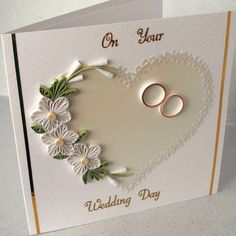 Handmade wedding card, congratulations, quilled - Folksy