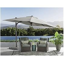 10ftx10ft Cantilever Umbrella with 4pcs Base and Light - Cast Shale
