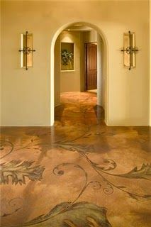 Stained concrete floor. Excellent! I dunno if I'd want it to look exactly like this, but I very much like the idea! (Done by the talented Decorative Concrete Staining & Scoring, Inc. in Scottsdale, AZ.)