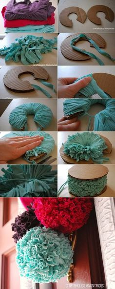Giant pompoms made from t-shirt yarn! Giant pompoms made from t-shirt yarn! Kids Crafts, Diy And Crafts, Arts And Crafts, Decor Crafts, Easy Crafts, Fabric Flowers, Paper Flowers, Craft Flowers, Fabric Pom Poms
