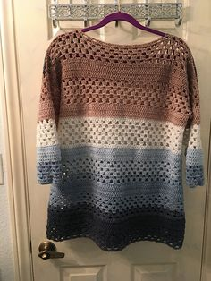 "Ravelry: lfpooh's Granny Stripes Sweater in Mandala yarn ""Wishing Well"" - Crochet - Sweaters Cardigan Au Crochet, Sweater Knitting Patterns, Crochet Cardigan, Knitting Designs, Pull Crochet, Crochet Top, Crochet Granny, Granny Stripes, Crochet Stitches"