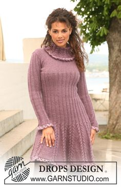 "Knitted DROPS dress in ""Alpaca"" and ""Kid-Silk"" with crochet borders in ""Cotton Viscose"". Size XS to XXL ~ DROPS Design"