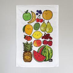 Happy Fruits Tea Towel #cute #fruit #happy #homewares #kawaii #kitchen #kitchenware #newhome #teatowel #towel #veggies #theplayfulindian #kitchentowel #newhomegift Colorful Vegetables, Colorful Fruit, Veggies, Raksha Bandhan Greetings, Happy Fruit, We Go Together Like, Burger And Fries, Fruit Tea, Love Hug