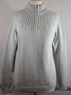 NEW Lands' End Drifters Sweater M 10-12 Gray 1/4 Zip Cable knit trim Cotton NWT #LandsEnd #14Zip #Everyday