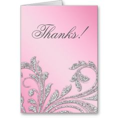 Baby Pink Glitter Leaves Gifts Greeting Cards