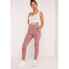 Missguided Zip and Biker Detail Joggers ($34) ❤ liked on Polyvore featuring activewear, activewear pants, pink, bike sportswear and sexy activewear