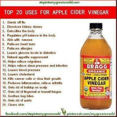 Top 20 Uses for Apple Cidar Vinegar 2 tablespoons apple cidar vinegar. 1 cup warm water. 2 tablespoons Honey. 2 times x day morning and night...