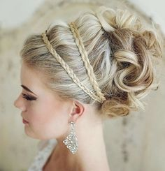 Updo Hairstyle with Braid - Prettiest Wedding Hairstyles 2015 Headbands, Hair Styles, Accessories, Fashion, Wedding Hairstyles, Hair Plait Styles, Moda, Wedding Hairsyles, Head Bands