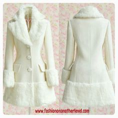 Winter White Coat with Fur trim comes in sizes S, M, L Beautiful Outfits, Cute Outfits, Beautiful Things, White Winter Coat, Pakistan Fashion, Velvet Fashion, Outerwear Women, Fashion Brand, Passion For Fashion