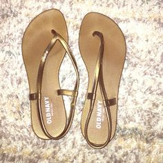 Bronze Sandals Super cute slip on bronze sandals! These are great for the pool or beach. Cute little gemstone details. Shoes Sandals