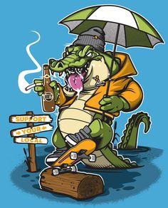 Various Projects/ Character Design 16 on Behance [crocodile, vector character art '] Vector Character, Character Art, Character Design, Funny Images Gallery, Graffiti Characters, Skate Art, Illustrations And Posters, Art Logo, Graffiti Art