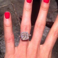 Breathtaking Celebrity Engagement Rings 5 Carat Diamond Ring, Cushion Cut Diamond Ring, Cushion Cut Diamonds, Diamond Rings, Diamond Cuts, Engagement Celebration, Wedding Engagement, Solitaire Engagement, Katherine Webb