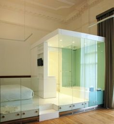 glass room 'pod' at Town Hall Hotel renovation by IQ