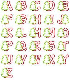 Christmas Tree Applique Alphabet-HAVE EMbroidery Boutique Embroidery Alphabet, Embroidery Patterns, Machine Embroidery, Christmas Alphabet, Christmas Fonts, Christmas Clipart, Embroidery Boutique, Custom Embroidery, Vintage Embroidery