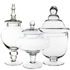 Candy Buffet Glass Apothecary Jar Set Of 3