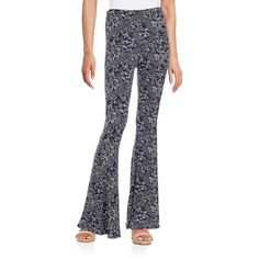 California Moonrise Knit Bell Bottom Pants ($58) ❤ liked on Polyvore featuring pants, navy, knit pants, paisley print pants, blue pants, bellbottom pants and pull on pants