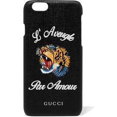 Gucci Tiger L'Aveugle coated-canvas iPhone 6 case ($270) ❤ liked on Polyvore featuring accessories, tech accessories, black and gucci
