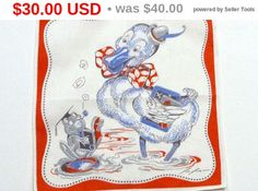 Vintage Childs Handkerchief Tom Lamb Frog and Duck in