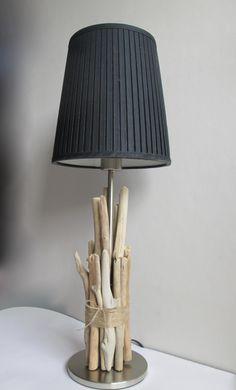 Pied de lampe en bois flotté - Grand modèle : Luminaires par maskott