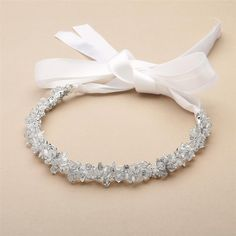 Slender Silver Bridal Headband with Hand-wired Crystal Clusters and White Ribbons