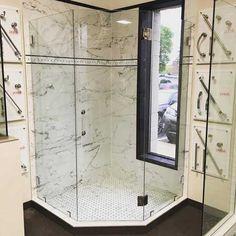 custom cut frameless shower door by Hopkins Glass MN Modern Shower Doors, Frameless Shower Doors, Glass Shower Doors, Glass Shower Enclosures, Custom Glass, Mirror, Furniture, Home Decor, Decoration Home