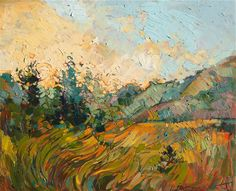 Waves of Gold, original oil painting by modern expressionist artist Erin Hanson