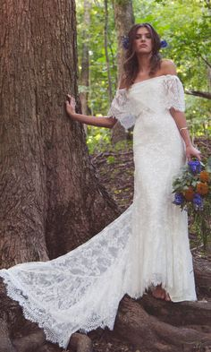 Off The Shoulder Wedding Dress Lace Bridal by DaughtersOfSimone