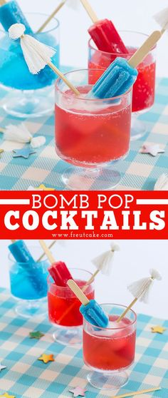 Popsicle cocktails made with classic red, white and blue Bomb Pops are an easy and fun way to make delicious patriotic drinks in no time, perfect for the of July! Blue Alcoholic Drinks, Alcoholic Popsicles, Champagne Drinks, Blue Drinks, Blue Cocktails, Beverages, Bomb Pop Drink, Fourth Of July Drinks, Health
