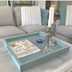 Wooden serving tray in Seaside Blue by My Beachy Farmhouse