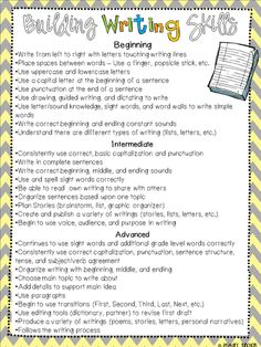 Writing at Home - Free Parent Handout - Provides an overview of K-2 writing development skills