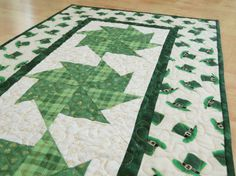 St Patrick's Day Quilted Table Runner by QuiltinWaYnE on Etsy