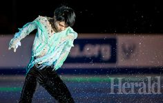 Herald photo by Ian Martens Ice spray fills the air next to Japanese skater Yuzuru Hanyu during his routine in the Gala Exhibition as part of Skate Canada International Sunday at the Enmax Centre.