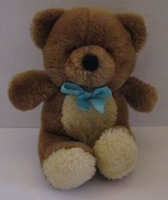 Squeaker in his belly. Soft stuffed - no beans or pellets inside. Blue satin ribbon/bow around neck. Brown Teddy Bear, Blue Bow, Ribbon Bows, Baby Things, Plush, Toys, General Store, Crafts, Stuffed Animals