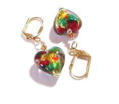 Murano Glass Colorful Heart Gold Earrings Dangle by JKCJewels, $25.00