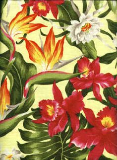 50hukilau Tropical Hawaiian Hibiscus, bird of paradise, & protea - cotton barkcloth fabric. Add Discount code: (Pin10) in comment box at check out for 10% off sub total at BarkclothHawaii.com