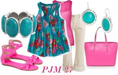 """""""Pink and Blue"""" by pjm27 on Polyvore"""