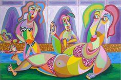 schilderij Na het zwemmen, een aantal dames en heren zijn in het zwembad heerlijk met elkaar in gesprek