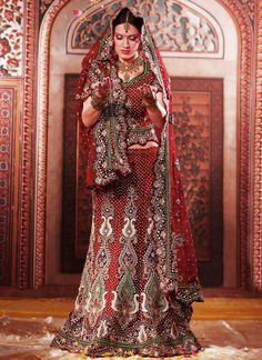 Red and Green Bridal Lengha
